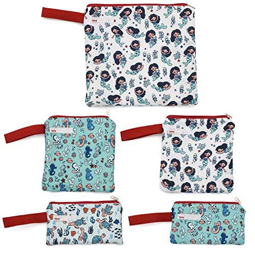 Reusable Snack Bags Sandwich Bags for Kids Washable Food Safe Fabric BPA Free  Mermaids Sea Horsesamp Sea Turtles 5 pack