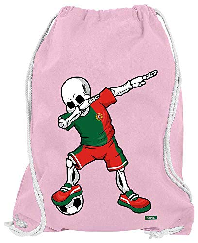 HARIZ Turnbeutel Fussball Dab Skelett Portugal Trikot Mannschaft Inkl. Geschenk Karte Rosa One Size