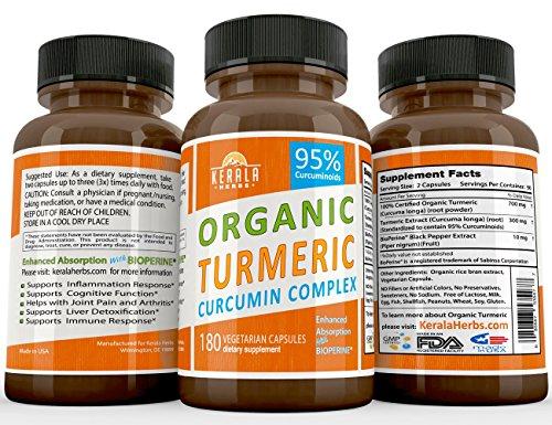ORGANIC TUMERIC CURCUMIN 180ct: 95% Curcuminoids Best with BioPerine Black Pepper Extract TURMERIC Anti Inflammatory Joint Pain Relief, Max Immune System Booster Liver Detox Capsule Organic Supplement