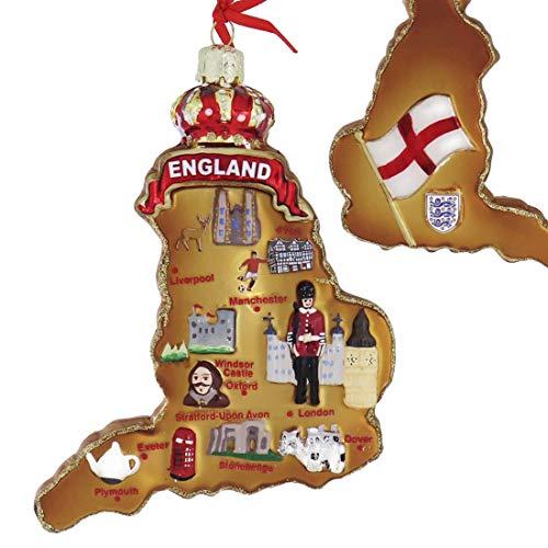 Kurt Adler Highlights of England Map Glass Ornament 5 3/8 in