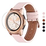 WFEAGL Compatible avec Bracelet Samsung Galaxy Watch 42mm/Gear S2 Classic/Gear Sport/Huawei Watch 2,20mm Grain Supérieur Bande en Cuir à Dégagement Rapide Bracelet(20mm, Sable Rose+Boucle Or Square)