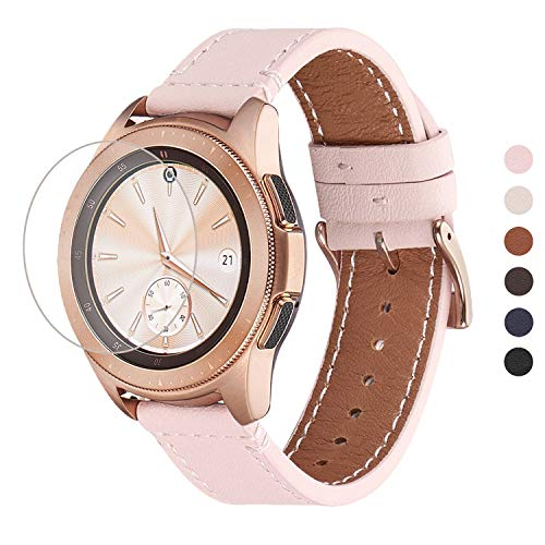 WFEAGL Kompatibel mit Samsung Galaxy Watch Armband 42mm/Gear S2 Classic/Gear Sport/Huawei Watch 2/Huawei Watch GT Elegant,20mm Top Grain Leder Ersatzband(20mm,Rosa Sand/Golden)