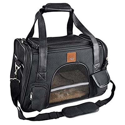 Purrpy Cat Dog Pet Carrier Airline Approved Soft Sided Small Animal Carrier Travel Bag, Car Seat Safe Carrier Black M