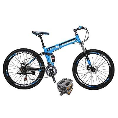 Eurobike Bikes HYG4 21 Speed Folding Mountain Bike 26 Inch Muti Spoke Wheels Dual Suspension Bicycle Blue