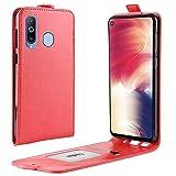 Sangrl Tasche Für Samsung Galaxy A8S, Hohe Qualität PU Leather Flip Hülle Soft Texture up & Down Open Tasche Ledertasche Rot
