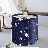 Foldable Bathtub Portable Soaking Bath Tub,Eco-Friendly Bathing Tub for Shower Stall,Thickening with Thermal Foam to Keep Temperature,Blue Sky