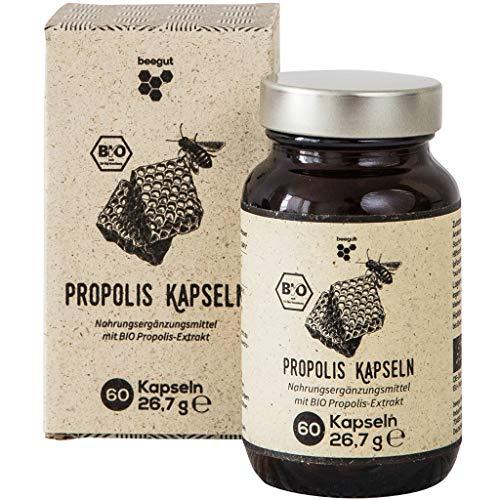 beegut BIO Propolis Kapseln, 60 Kapseln in pflanzlicher Kapselhülle mit BIO Propolis Extrakt, nachhaltige Verpackung