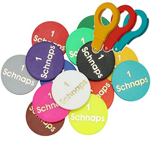 50 Chips Lila / 1 Schnaps - Alle Buchstaben und Zahlen und vieles mehr in 14 verschiedenen Farben - Einkaufswagenchips Pfandmarken