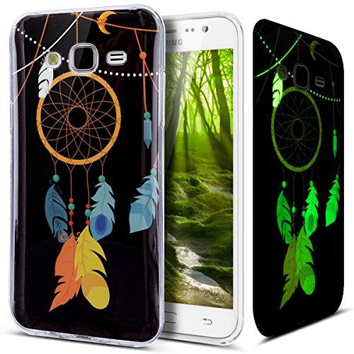 Coque Galaxy J5,Etui Galaxy J5,Lumineux Fluoré fluorescent Brillent dans le noir Housse IMD TPU Silicone Gel TPU Souple Housse Etui de Protection Case Coque Housse pour Galaxy J5,campanule