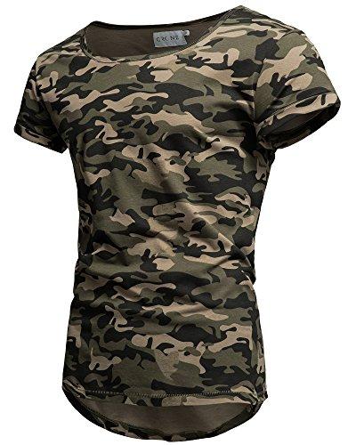 Crone Keno Herren Kurzarm Rundhals Basic Oversize Slim Fit T-Shirt in vielen Farben (L, Camouflage)