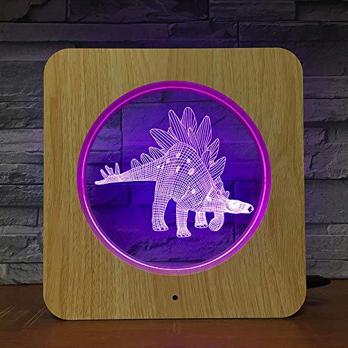 Dinosaurier Tier 3D LED Holzkorn Nachtlicht DIY Tischlampe Tischlampe Kinder Geburtstag Farben Kinder Geschenk Home Dekoration