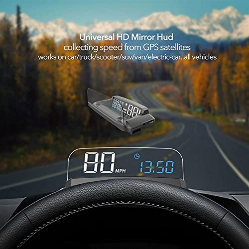 Weiy R1 HUD GPS Velocímetro Universal 3D Cabeza Arriba Pantalla Digital Velocidad mph Proyector de Parabrisas de Voltaje de Alarma de Exceso de Velocidad para Todos los Autos vehículo de Camiones
