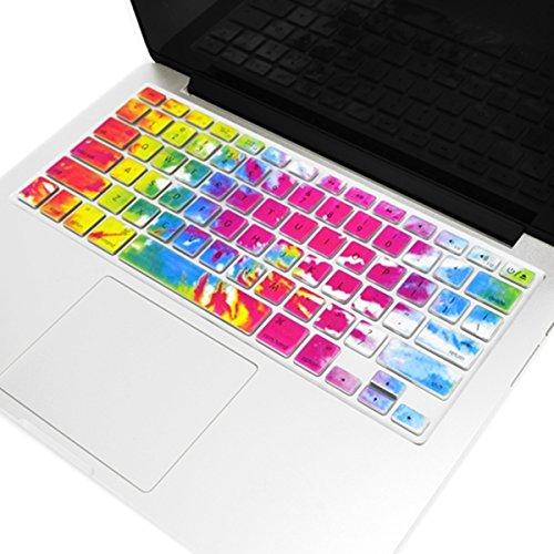 TOPCASE Tie Dye patrón delgado suave teclado de silicona para MacBook 13'Unibody/Old generación Macbook pro 13' 15'17' con o sin pantalla Retina/Macbook Air de 13'/teclado inalámbrico