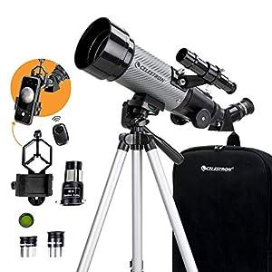 Celestron - Telescopio portatile da viaggio 70 DX con adattatore per smartphone e pulsante di scatto