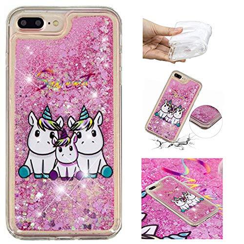 E-Panda Custodia Cover Apple iPhone 7 Plus 8 Plus Unicorno Brillantini Glitter Liquido Belle Disegni Case TPU Trasparente Ultra Slim Silicone Morbido Morbida Gomma Gel Bumper Antiurto