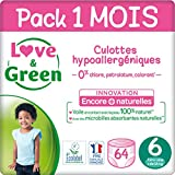 Love & Green Couches Culottes Taille 6 (+16 kg) - Pack 1 mois (64 couches culottes)