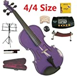Merano 4/4 Full Size Purple Student Violin with Case and Bow+Extra Set of Strings, Extra Bridge, Shoulder Rest, Rosin, Metro Tuner, Black Music Stand, Rubber Mute