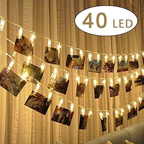 Cookey Clip cadena de luces LED - 40 Fotoclips 5M plana Betri batería Bildleuchten LED para la ración decorativos colgantes de fotos, notas, ilustraciones