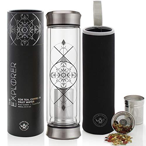 Teabloom Becher für alle Getränke – 0,4 l – Doppelwandiges Isolierglas Reiseflasche – Heißer Tee & Kalter Kaffee Thermosflasche – Isolierte Wasserflasche – Abnehmbare Hülse