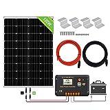 ECO-WORTHY Panneau solaire 120W, Contrôleur de charge solaire 20A, Câble de 5m, Support de montage pour Camping-car, Bateau,...