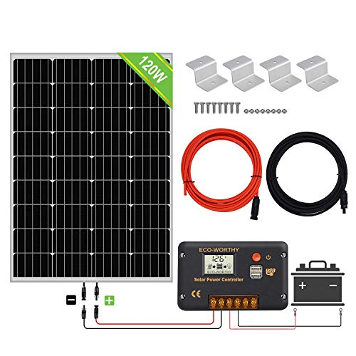 ECO-WORTHY 200 Watt 12V / 24V Off Grid Paneles solares Kits 2pcs 100W Panel solar...
