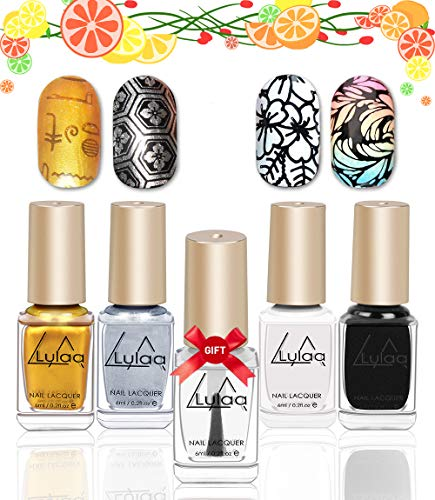 DRMODE Stamping Nail Polish - 4 Bottles Solid Color Nail Art Polish and Free Fast Drying Top Coat, Nail Art Stamp Polish Pigmented Lacquer Gold Silver Black White