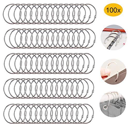 Binder Ringe,Bücher Ringe,100 Stück Schlüsselringe Edelstahl perfekt für Scrapbook Album Handwerk (Größe 25mm)