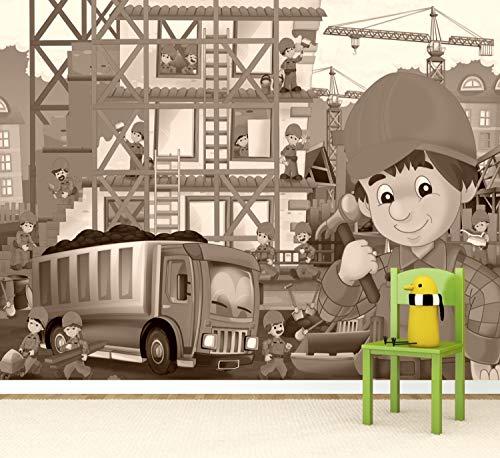 Vlies Tapete Poster Fototapete Kinderzimmer Baustelle Bauarbeiter Farbe sepia, Größe 100 x 80 cm