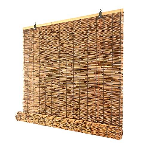 ASDQWER Bambusrollo,Lichtfilter Vorhang,Rollo Seitenzugrollo, Natürliche Blind-Jalousien Bambus-Farbtöne, Römische Töne Im Freien, Für Außen/Innen/Individuell Größe/Braun,90x230cm/36x91in