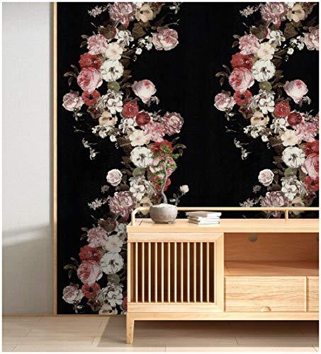 """HaokHome 690106 Vintage Rose Flower Wallpaper Floral Black/Pink/White Home Bedroom Wallpaper 20.8"""" x 33ft"""