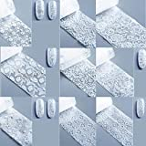 10シール ホワイト ネイルホイル レース ホワイト 花 春 星空 ネイルデコ ステッカー ネイルアート ホイル 50cm (11-20)