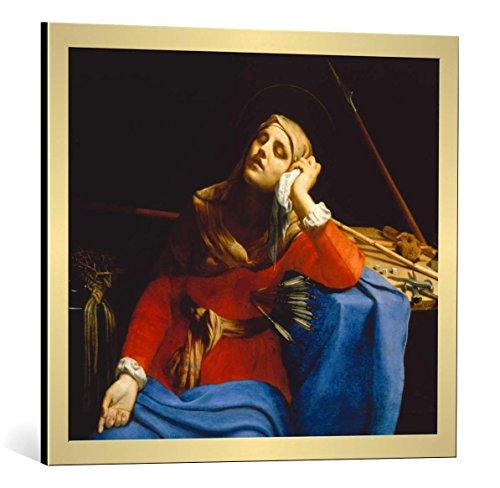 Kunst für Alle Cuadro con Marco: Guido Cagnacci Die schmerzhafte Muttergottes - Impresión artística Decorativa con Marco, 70x60 cm, Dorado Cepillado