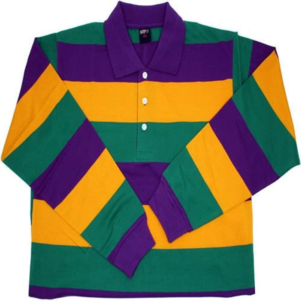 KAPLIN Mardi Gras Adult Polo Shirt Long Sleeve (#102)