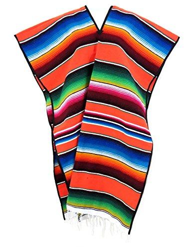 Mexican Sarape Serape Poncho Adult by Leos Imports (Orange)
