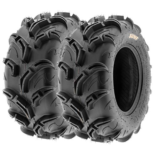Pair of 2 SunF Warrior AT 25x10-12 ATV UTV Mud & Trail Tires, 6 PR, Tubeless A048