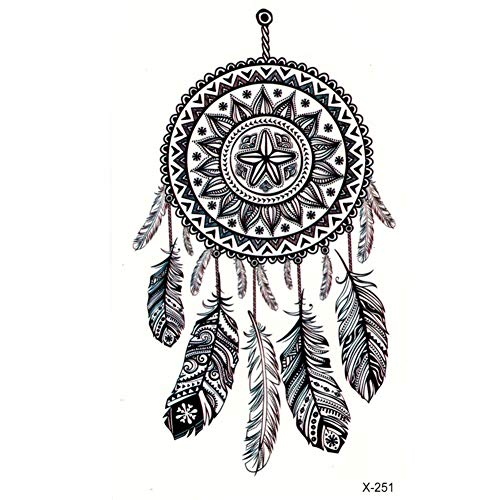 EROSPA® Tattoo-Bogen temporär / Sticker - Traumfänger Feder - Wasserfest