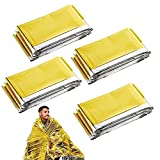 Mantas de Emergencia*4, XiXiRan Manta de Rescate Impermeable, Manta de Supervivencia Reflectante, Mantas Térmicas de Emergencia, Manta de Aluminio de Emergencia, 210*160cm, Reutilizable