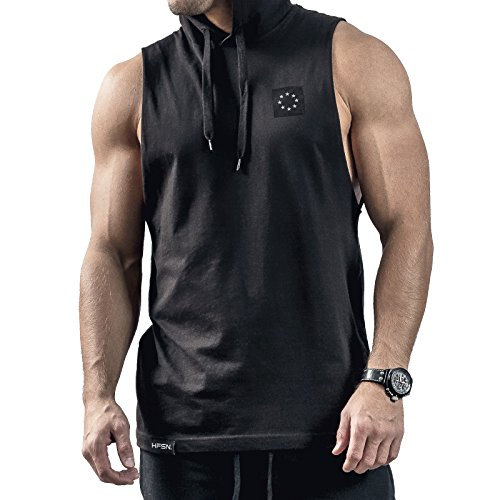 Hyperfusion Core Hooded Cut Off Tank Top mit Kapuze Hoodie Gym Fitness (XL, Schwarz)