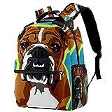 KeepCart sac à dos cartable sac à dos sac d'école randonnée sac à dos Apprendre Haute capacité et mignon en plein air Bulldog anglais Popart pour hommes et femmes