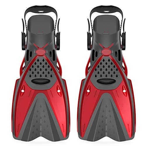 Gfhrisyty Botas de Buceo, Aletas de Silicona para Nadar en el Agua, Zapatos de Rana de Buceo Profundo para Adultos, Aletas, Suministros para EsnóRquel, Rojo ML/XL