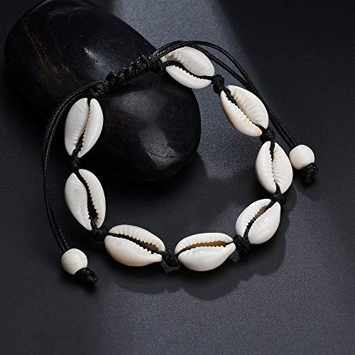 Muschel Armband für Damen Frauen | Verstellbar im Bohemia Indi Style | Auch als Fußkette | Shell Armkette Muschel-Armband | Echte Muscheln (Schwarz)