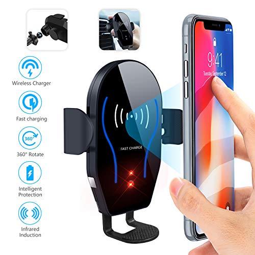 Dimi Wireless-Autoladegerät-Halterung, Qi-Schnellladung, Auto-Air-Vent-Handyhalter mit automatischer Klemmung, 10W kompatibel für Samsung Galaxy S9 S8 Note 8 9,7.5W für iPhone XS Max XR XS X 8 Plus