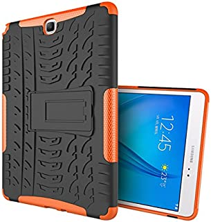 Case Samsung Galaxy Tab A 9.7/T550/T555 360° Full Body[with Tempered Glass Screen Protector] Shockproof Protection Phone Cover Protective Skin Case for Samsung Galaxy Tab A 9.7/T550/T555 (Orange)