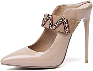 Solid Color High Heel Sandals (Color : Apricot, Size : 35)