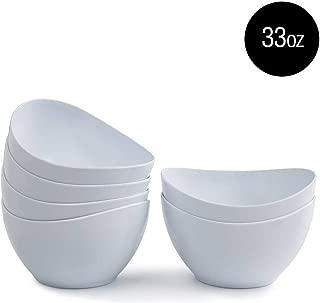Melamine Salad Bowls - 6pcs Dinner Bowls Set for Cereal, Fruit, Dessert, 33oz, White