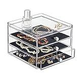 mDesign organizador de gafas con 3 cajones - Caja metacrilato en color transparente - También perfecta como joyero u organizador de maquillaje
