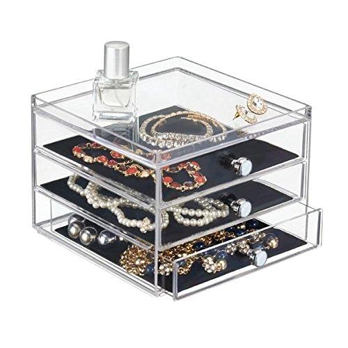 mDesign Schubladenbox – die Aufbewahrungsbox mit drei Schubladen, beispielsweise als Schmuck Organizer