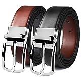 MEIRUIER Cuero Cinturón Reversible,Perfecto Regalo,Cinturon Hombre Cuero Negro Marrón Jeans Reversible Piel para Hombres Clásico Negocios Casual (Negro&marrón-4, 120cm(Cintura32-42'))