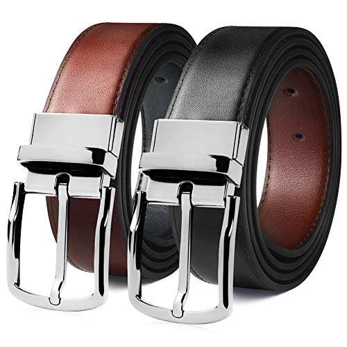 """MEIRUIER Cuero Cinturón Reversible,Perfecto Regalo,Cinturon Hombre Cuero Negro Marrón Jeans Reversible Piel para Hombres Clásico Negocios Casual (Negro&marrón-4, 120cm(Cintura32-42""""))"""