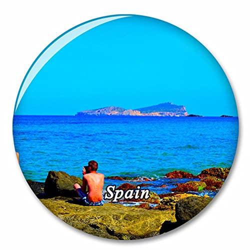 España Cala Comte Beach Ibiza Imán de Nevera, imánes Decorativo, abridor de Botellas, Ciudad turística, Viaje, colección de Recuerdos, Regalo, Pegatina Fuerte para Nevera